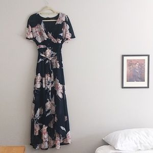 Luxology Navy and Floral Print Dress